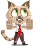 Business Cat Cartoon Vector Character AKA Tom Catson - Stop