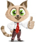 Business Cat Cartoon Vector Character AKA Tom Catson - Thumbs Up