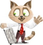 Business Cat Cartoon Vector Character AKA Tom Catson - Travel 1