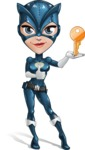 Fit Girl with Superhero Costume Cartoon Vector Character AKA Sara Purrfect - Key