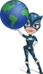 Fit Girl with Superhero Costume Cartoon Vector Character AKA Sara Purrfect - Earth