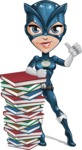 Fit Girl with Superhero Costume Cartoon Vector Character AKA Sara Purrfect - Books