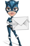 Fit Girl with Superhero Costume Cartoon Vector Character AKA Sara Purrfect - Letter