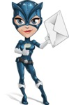 Fit Girl with Superhero Costume Cartoon Vector Character AKA Sara Purrfect - Letter 2