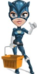 Fit Girl with Superhero Costume Cartoon Vector Character AKA Sara Purrfect - Shopping