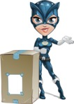 Fit Girl with Superhero Costume Cartoon Vector Character AKA Sara Purrfect - Delivery