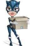 Fit Girl with Superhero Costume Cartoon Vector Character AKA Sara Purrfect - Delivery 2