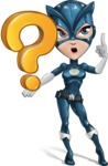Fit Girl with Superhero Costume Cartoon Vector Character AKA Sara Purrfect - Question