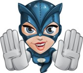 Fit Girl with Superhero Costume Cartoon Vector Character AKA Sara Purrfect - Fly 3
