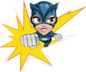 Fit Girl with Superhero Costume Cartoon Vector Character AKA Sara Purrfect - Shape 1