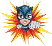 Fit Girl with Superhero Costume Cartoon Vector Character AKA Sara Purrfect - Shape 3