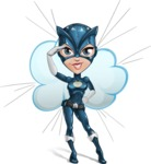 Fit Girl with Superhero Costume Cartoon Vector Character AKA Sara Purrfect - Shape 9