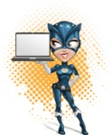 Fit Girl with Superhero Costume Cartoon Vector Character AKA Sara Purrfect - Shape 11