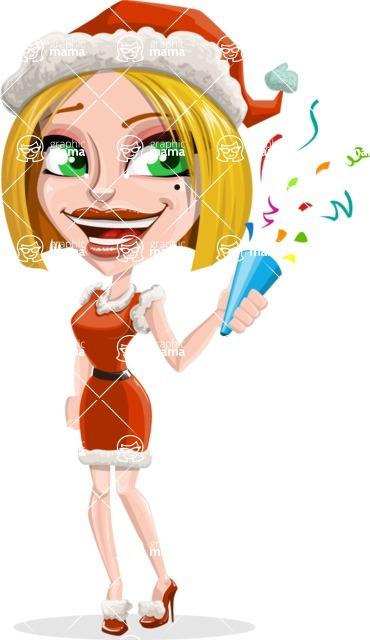 Santa Girl Cartoon Vector Character - Celebrating with Confetti