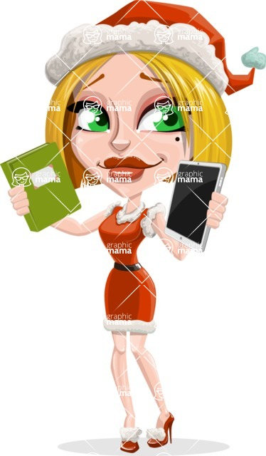 Santa Girl Cartoon Vector Character - Choosing Between a Book and a Modern Tablet Reading