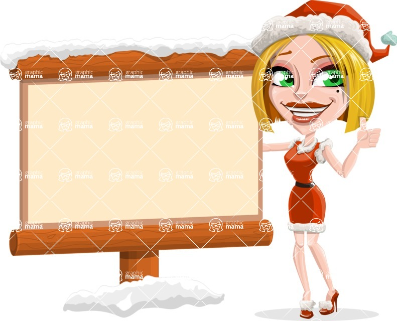 Santa Girl Cartoon Vector Character - Choosing the Way in Snow