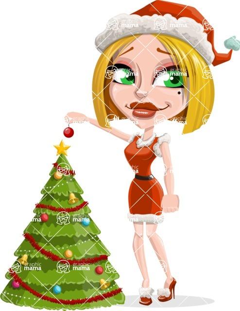 Santa Girl Cartoon Vector Character - Decorating Christmas Tree
