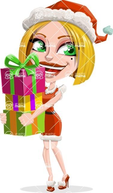 Santa Girl Cartoon Vector Character - Giving Christmas Presents