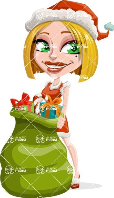 Santa Girl Cartoon Vector Character - Holding Christmas Sack with Gifts