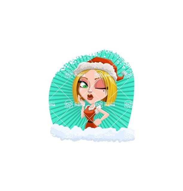 Santa Girl Cartoon Vector Character - Holiday Sticker