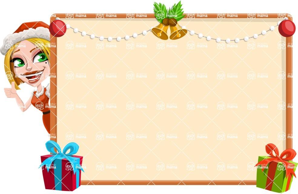 Santa Girl Cartoon Vector Character - Making a Christmas Presentation Template
