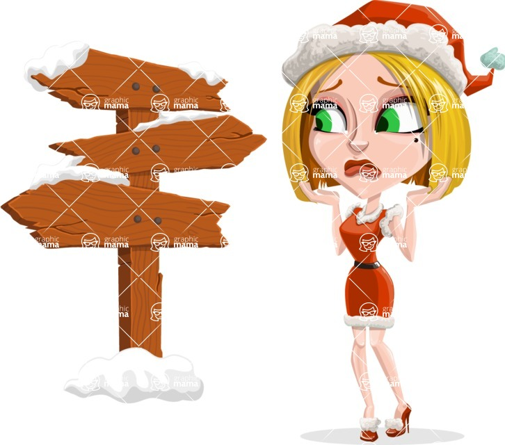 Santa Girl Cartoon Vector Character - Making a Presentation on a Christmas Board