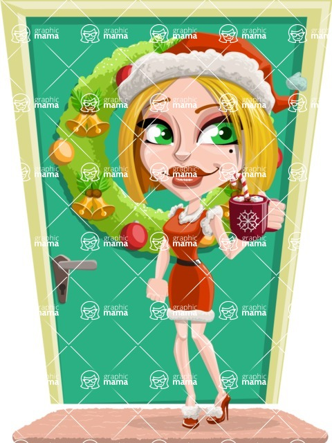 Santa Girl Cartoon Vector Character - On a House Door Illustration