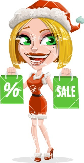 Santa Girl Cartoon Vector Character - On Christmas Sale