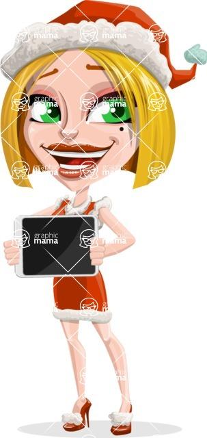 Santa Girl Cartoon Vector Character - Presenting a Tablet