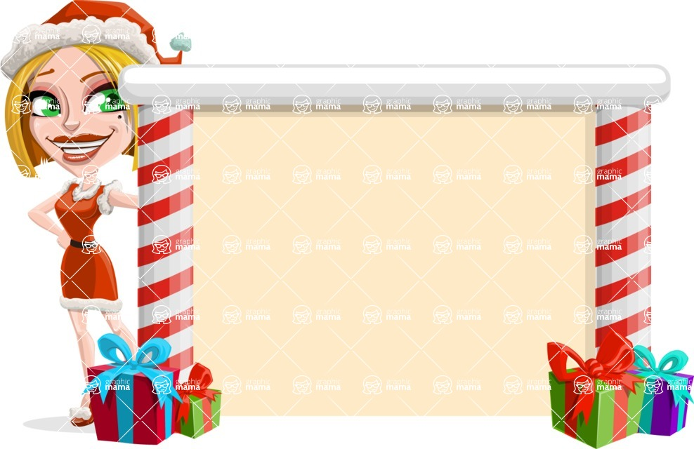 Santa Girl Cartoon Vector Character - Presenting on a Blank Christmas Whiteboard