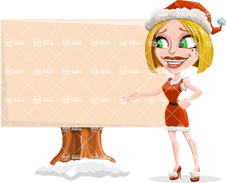 Santa Girl Cartoon Vector Character - Presenting on a Blank Whiteboard for Christmas