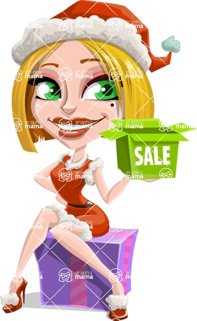 Santa Girl Cartoon Vector Character - Shopping for Gifts