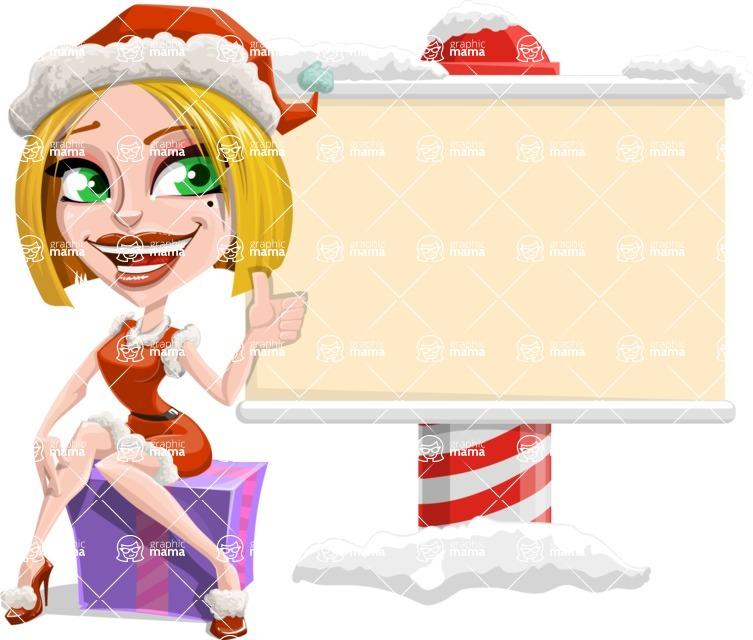 Santa Girl Cartoon Vector Character - Showing a Blank Christmas Sign