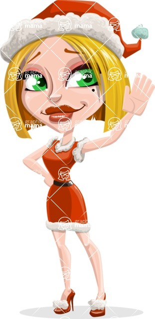 Santa Girl Cartoon Vector Character - Waving