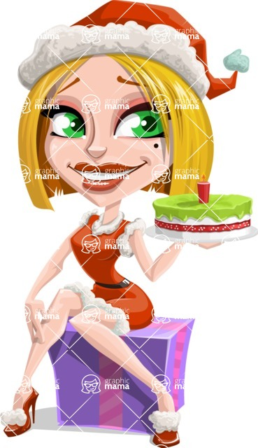 Santa Girl Cartoon Vector Character - With a Cake for Christmas