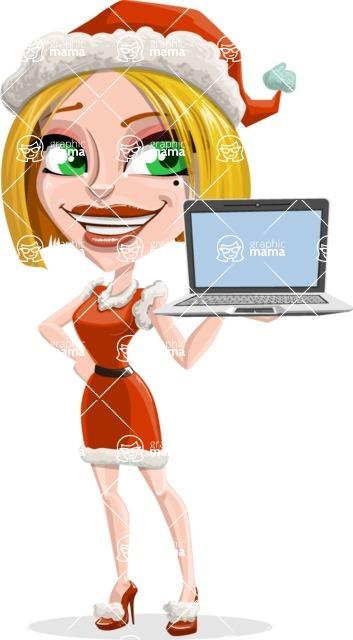 Santa Girl Cartoon Vector Character - With a Computer