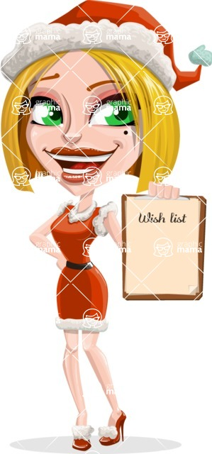 Santa Girl Cartoon Vector Character - With a Wish List