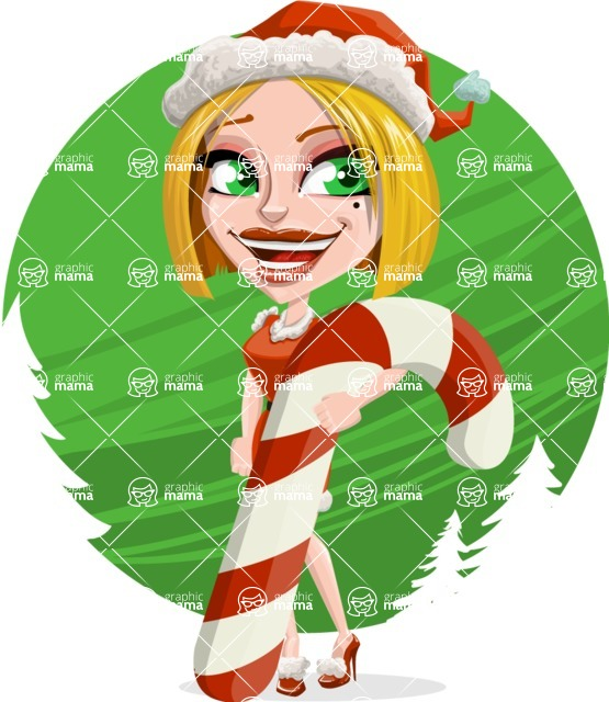 Santa Girl Cartoon Vector Character - With Beautiful Trees Background Concept