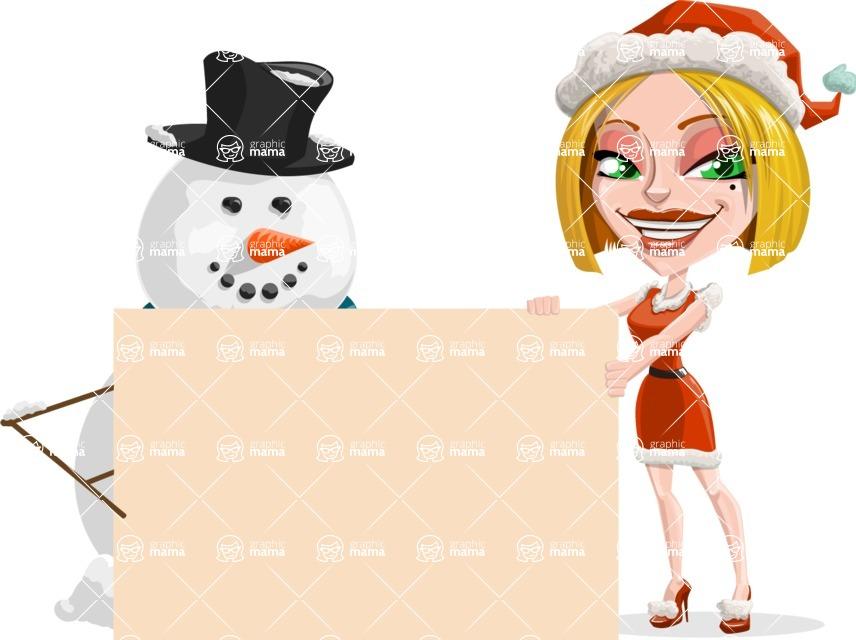 Santa Girl Cartoon Vector Character - With Blank Sign on Christmas Theme