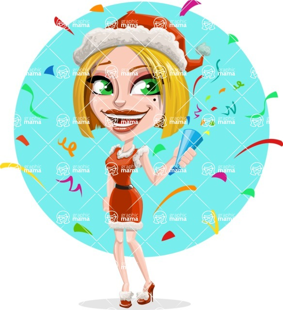 Santa Girl Cartoon Vector Character - With Celebrating Background with Confetti