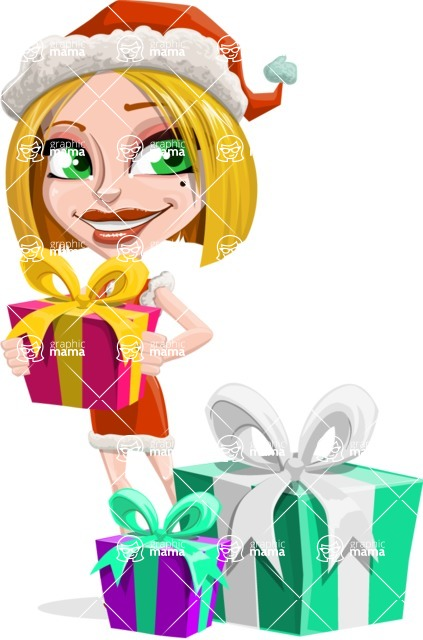 Santa Girl Cartoon Vector Character - With Christmas Gifts