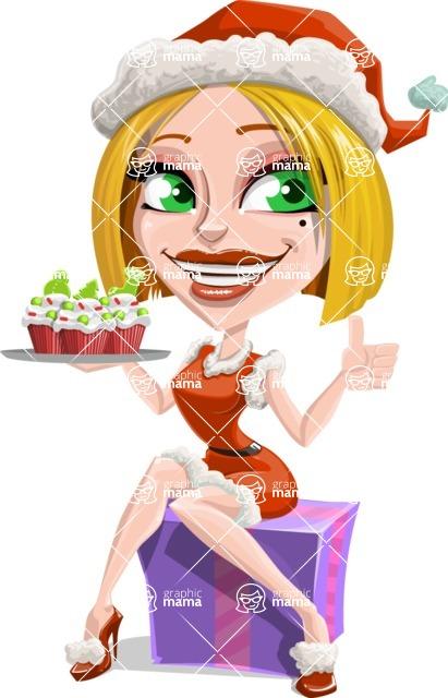 Santa Girl Cartoon Vector Character - With Christmas Muffins
