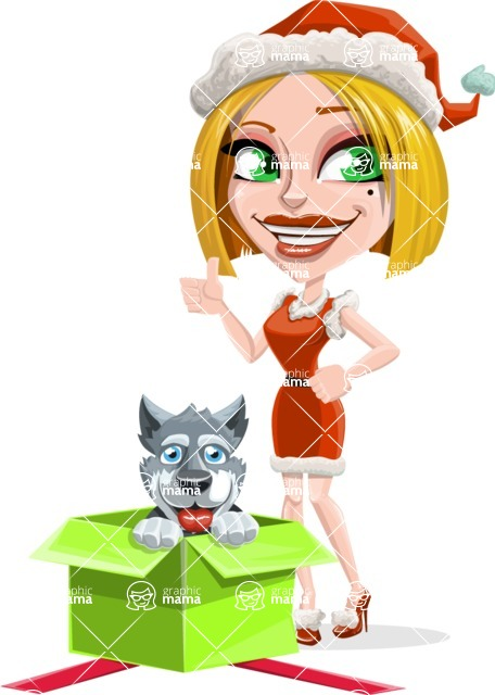 Santa Girl Cartoon Vector Character - With Christmas Puppy as a Present