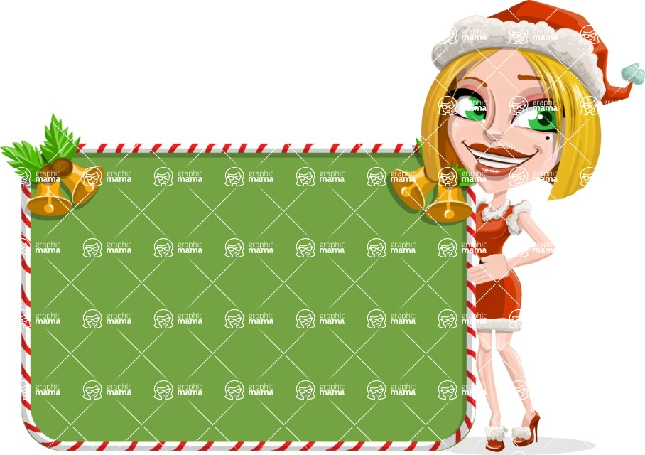 Santa Girl Cartoon Vector Character - With Cool Christmas Board