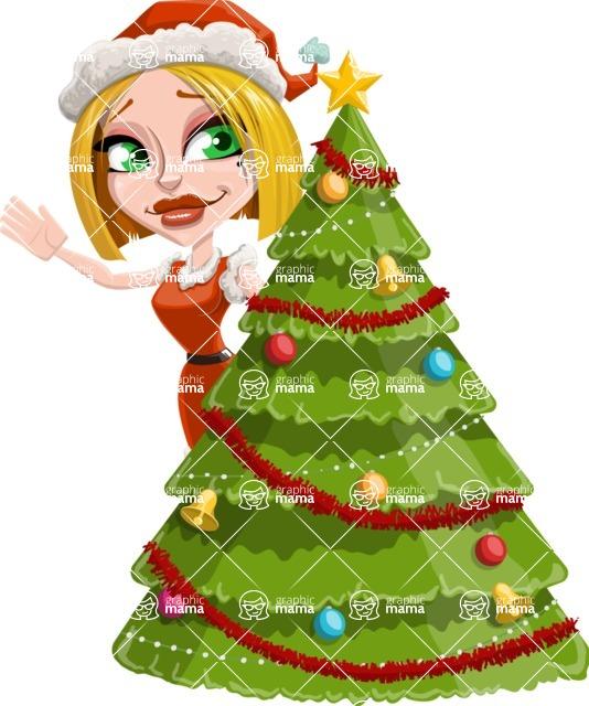 Santa Girl Cartoon Vector Character - With Cool Christmas Tree
