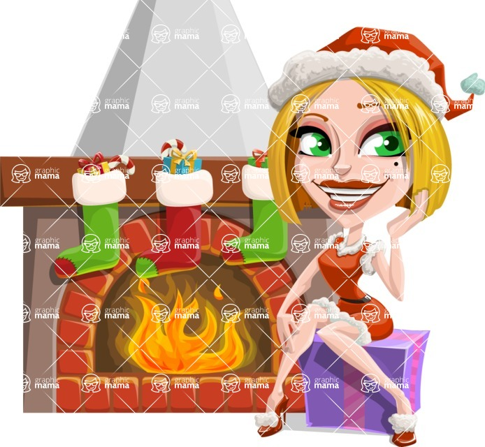 Santa Girl Cartoon Vector Character - With Decorated Fireplace