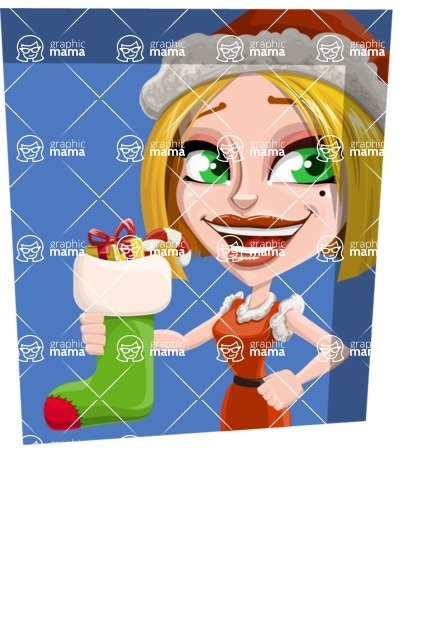 Santa Girl Cartoon Vector Character - With Flat Shape Background