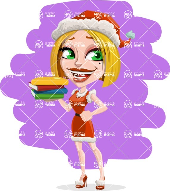 Santa Girl Cartoon Vector Character - With Gift Books Illustration