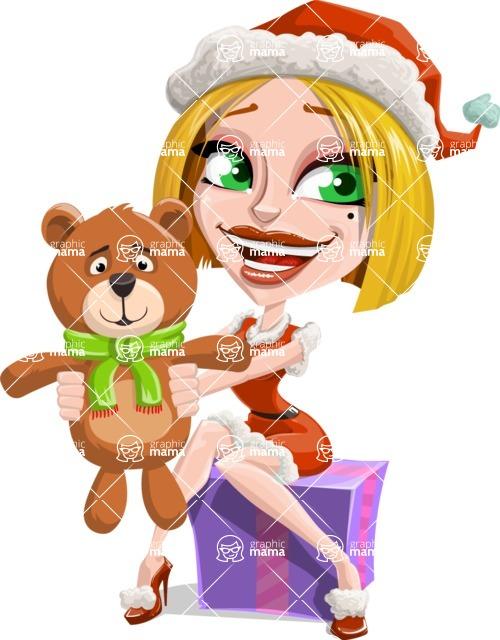 Santa Girl Cartoon Vector Character - With Plush Bear Gift