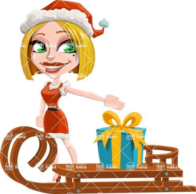 Santa Girl Cartoon Vector Character - With Present on a Sleigh
